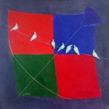 Shiv Soni | Acrylic Painting title kite and birds ix on canvas | Artist Shiv Soni Gallery | ArtZolo.com