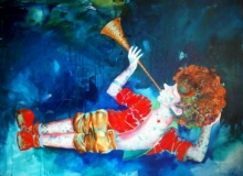 Impressionist Acrylic-oil Art Painting title 'Passion Of The Childhood xiv' by artist Shiv Kumar Soni