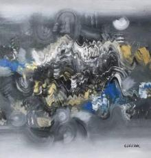 Abstract Acrylic Art Painting title 'Grey Abstract II' by artist Deepak Guddadakeri