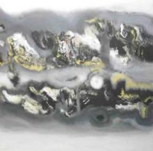 Abstract Acrylic Art Painting title Grey Yellow Horizontal Abstract by artist Deepak Guddadakeri