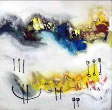 Abstract Acrylic Art Painting title Yellow Nature by artist Deepak Guddadakeri