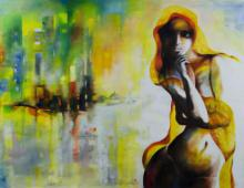 Figurative Oil-pastel Art Painting title 'Staring Into The Void 4' by artist Tejinder Ladi Singh