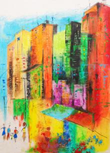 Urban Jungle 5 | Painting by artist Tejinder Ladi Singh | oil-pastel | Paper