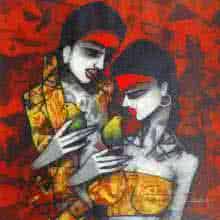 Figurative Acrylic Art Painting title 'Love Birds' by artist Mukesh Salvi