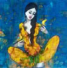 Figurative Acrylic Art Painting title 'Love With Birds' by artist Mukesh Salvi