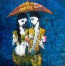 Figurative Acrylic Art Painting title Under the Umbrella by artist Mukesh Salvi