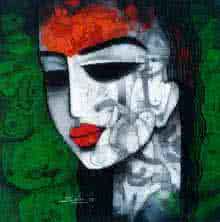 Figurative Acrylic Art Painting title 'Tribal Girl I' by artist Mukesh Salvi