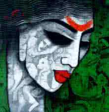 Figurative Acrylic Art Painting title 'Tribal Girl II' by artist Mukesh Salvi