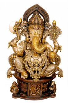 Brass Jewelled Ganesha | Craft by artist Brass Art | Brass