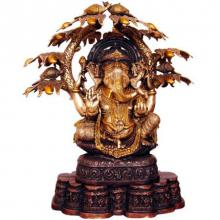 Brass Art | Ganesha With Tree And Peacocks Craft Craft by artist Brass Art | Indian Handicraft | ArtZolo.com