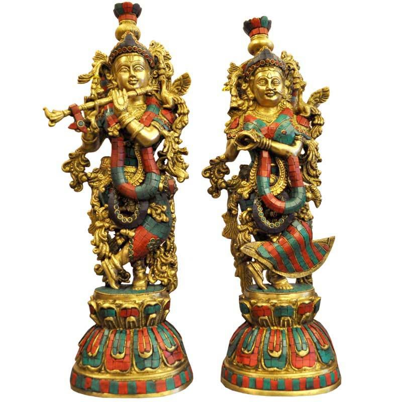 Brass Radha Krishna Statue With Colored Religious On