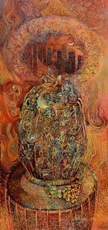 Abstract Acrylic Art Painting title Spiritual tune 1 by artist Arun Jana
