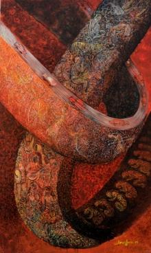 Abstract Acrylic Art Painting title Kolkata 1 by artist Arun Jana