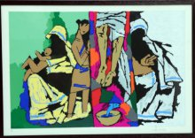 Figurative Serigraphs Art Painting title 'Theorama Series III' by artist M F husain