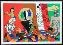 Figurative Serigraphs Art Painting title 'Theorama Series V' by artist M F husain