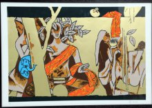 Figurative Serigraphs Art Painting title 'Theorama Series VI' by artist M F husain
