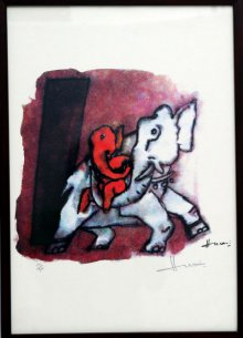 Abstract Serigraphs Art Painting title 'Ganesha III (Ashtavinayak series)' by artist M F husain