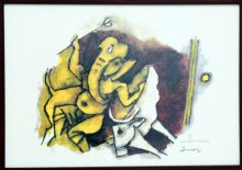 Abstract Serigraphs Art Painting title 'Ganesha With Cow (Ashtavinayak Series)' by artist M F husain