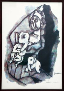 Abstract Serigraphs Art Painting title 'Parvati and Ganesha(Ashtavinayak Series)' by artist M F husain