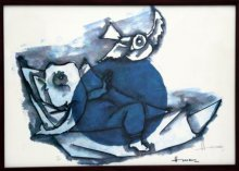 Abstract Serigraphs Art Painting title 'Ganesha and Mouse(Ashtavinayak Series)' by artist M F husain