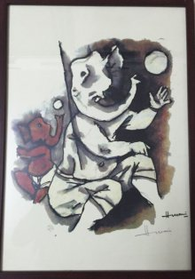 Abstract Serigraphs Art Painting title 'Ganesha IV (Ashtavinayak Series)' by artist M F husain