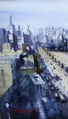 Cityscape Watercolor Art Painting title New Edit by artist Nirupam Konwar