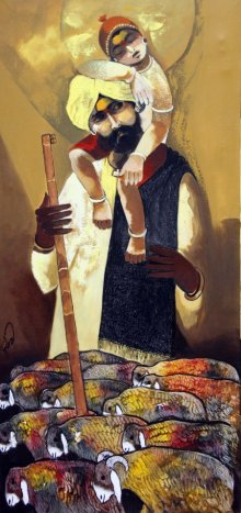Figurative Oil Art Painting title 'Father Shepherd' by artist RAOSAHEB GURAV