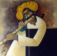 Figurative Oil Art Painting title 'Flute II' by artist RAOSAHEB GURAV