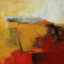 Abstract Acrylic Art Painting title Golden Blush I by artist Siddhesh Rane