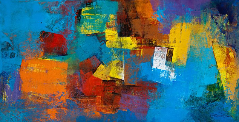 Blue Horizontal Abstract By Artist Siddhesh Rane Acrylic