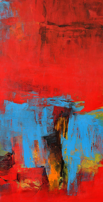 Red Vertical Abstract Ii By Artist Siddhesh Rane
