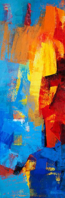 Abstract Acrylic Art Painting title Multi Blue Vertical Abstract by artist Siddhesh Rane