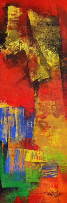 Abstract Acrylic Art Painting title Multi Red Vertical Abstract by artist Siddhesh Rane