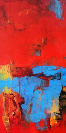 Abstract Acrylic Art Painting title Red Vertical Abstract I by artist Siddhesh Rane