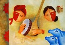 Figurative Oil Art Painting title musical love 3 by artist Chetan Katigar