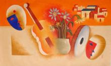 Abstract Oil Art Painting title Musical Love by artist Chetan Katigar