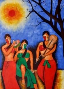 Figurative Oil Art Painting title musician by artist Chetan Katigar