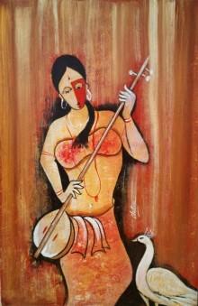 Figurative Oil Art Painting title Rhythm 2 by artist Chetan Katigar