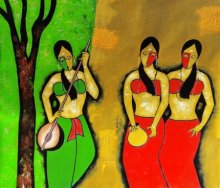 Chetan Katigar Paintings | Mixed-media Painting - Three Friends by artist Chetan Katigar | ArtZolo.com