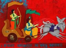 Figurative Acrylic Art Painting title Battle Of Mahabharata 2 by artist Chetan Katigar
