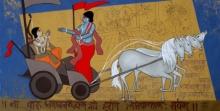 mahabharat, #acrylic #canvas #figurative #friends #love #fondness #krishna