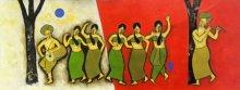 Figurative Mixed-media Art Painting title Celebration by artist Chetan Katigar