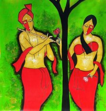 Couple- 6 | Painting by artist Chetan Katigar | mixed-media | Canvas