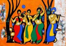 Figurative Acrylic Art Painting title Dancing Mood by artist Chetan Katigar