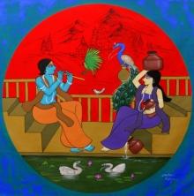 #acrylic #canvas #radha #krishna #phad
