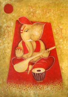 Religious Oil Art Painting title Ganesha 1 by artist Chetan Katigar