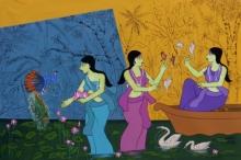 #acrylic #acrylic0ainting #women #traditional #gold #beautifull