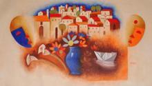 Abstract Oil Art Painting title Kagaz Ki Kashti by artist Chetan Katigar