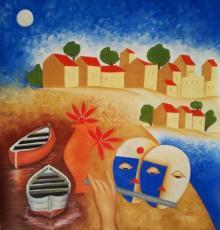 Expressionist Oil Art Painting title Kasti by artist Chetan Katigar