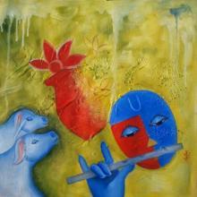 Religious Oil Art Painting title Krishna Love 3 by artist Chetan Katigar